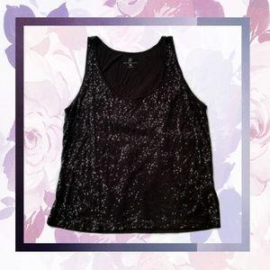 Sparkling black sequin tank top